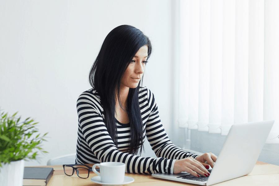 woman doing online transcription work