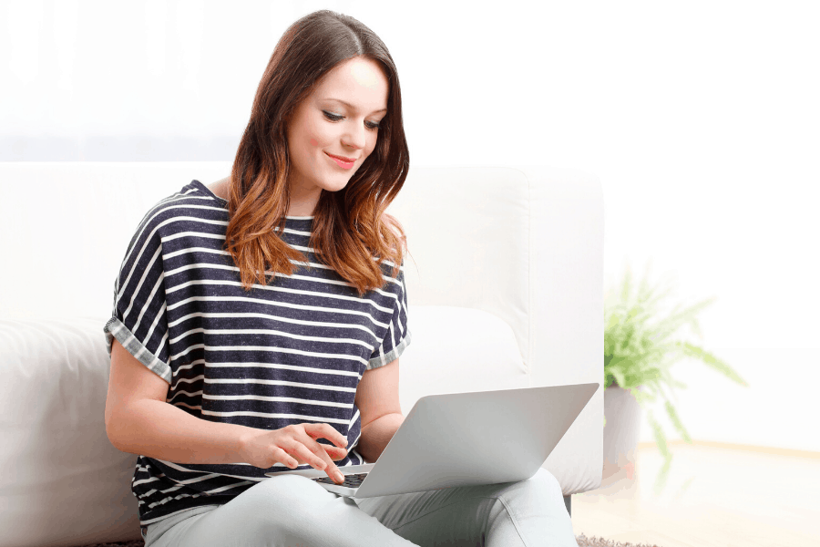 woman working in a home based business