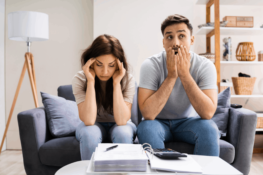 couple worrying about money