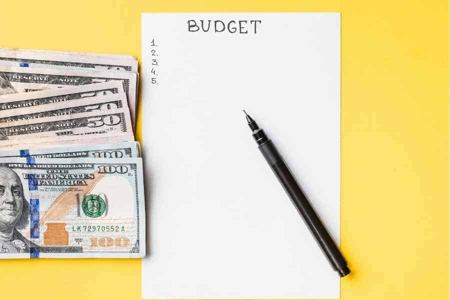 budget worksheet and money