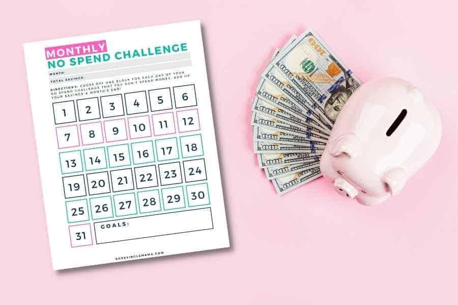 no spend challenge printable